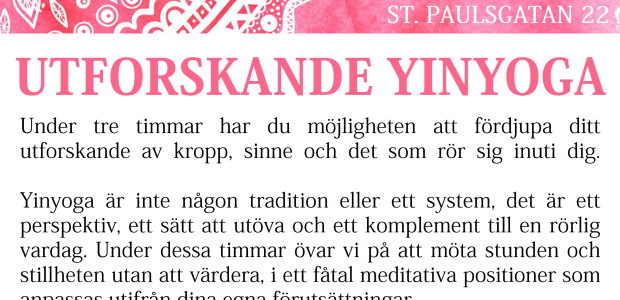 Nu är yinyoga workshopen fullbokad